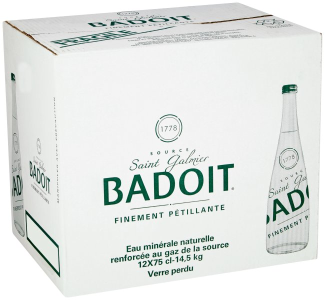 Image of a Badoit Sparkling Water Glass Bottle case