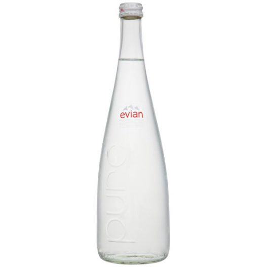 Imaage of a Evian Mineral Water Still Glass Bottle
